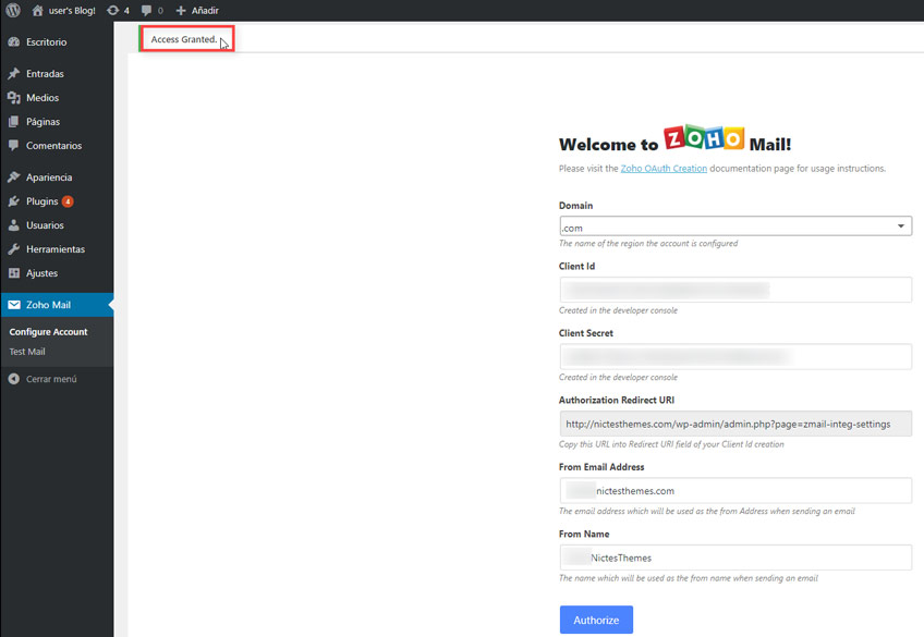 Acceso Garantizado Zoho Mail Plugin WordPress