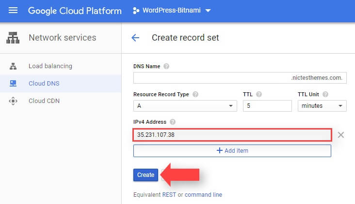 Agregar Registro DNS Tipo A Google Cloud
