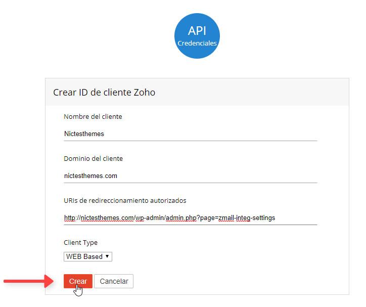 API Credenciales Crear ID Cliente Zoho Mail Plugin WordPress