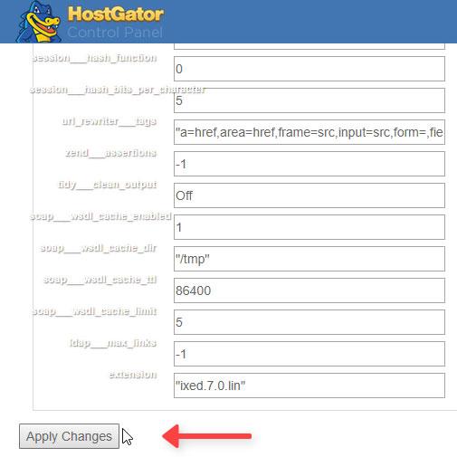Aplicar Cambios PHP.INI cPanel