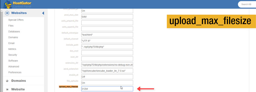 Cambiar Tamaño Máximo de Subida de Archivos en cPanel
