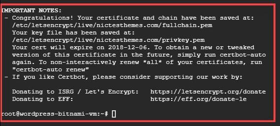 Certificado SSL Generado con Éxito WordPress Bitnami