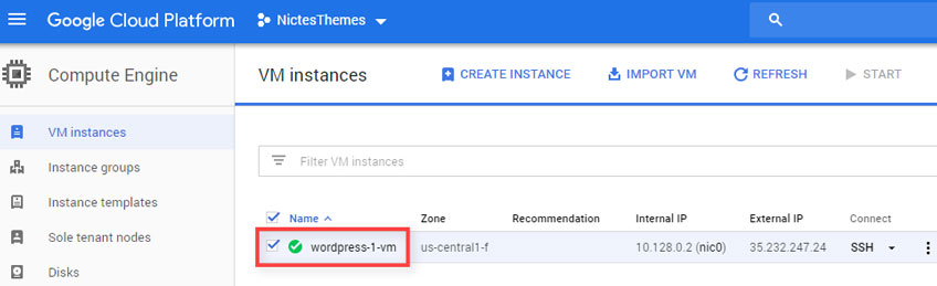 Confirmar Inicio VM Instances Google Cloud