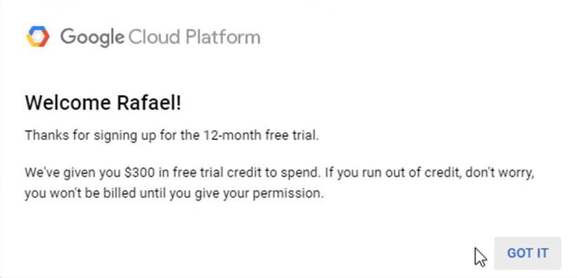 Bienvenida Google Cloud Free Trial