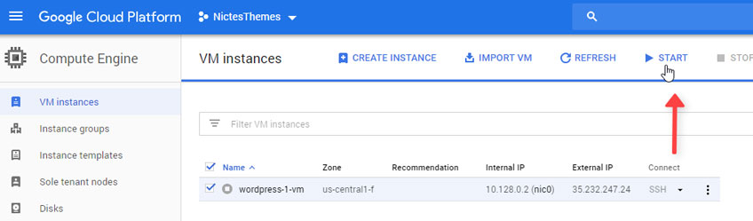 Iniciar VM Instances Google Cloud