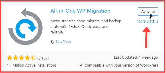 Instalar y Activar All In One WP Migration