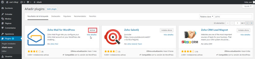 Instalar Plugin Zoho Mail for WordPress