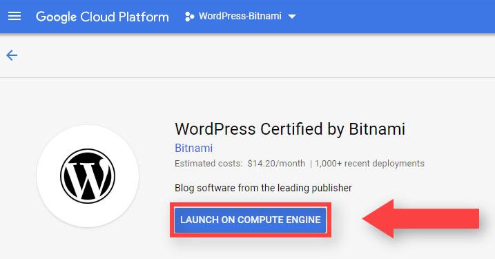Launch On Compute Engine WordPress Google Cloud