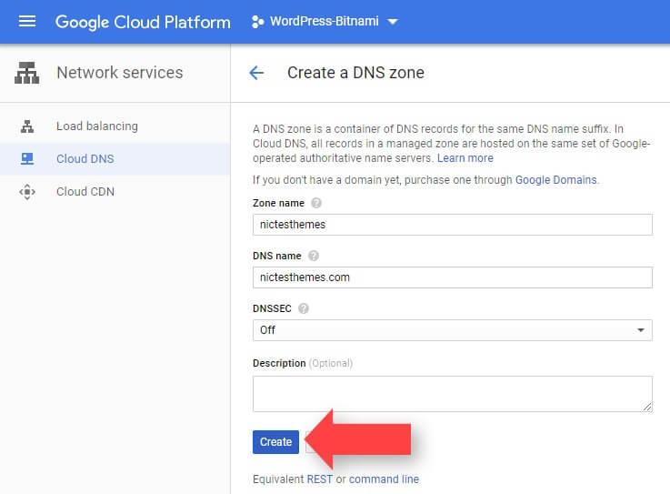 Asignar Nombre Zona DNS Google Cloud
