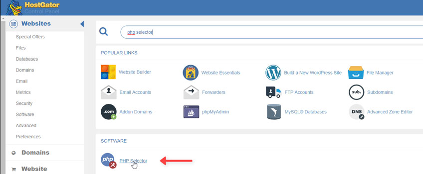 PHP Selector cPanel