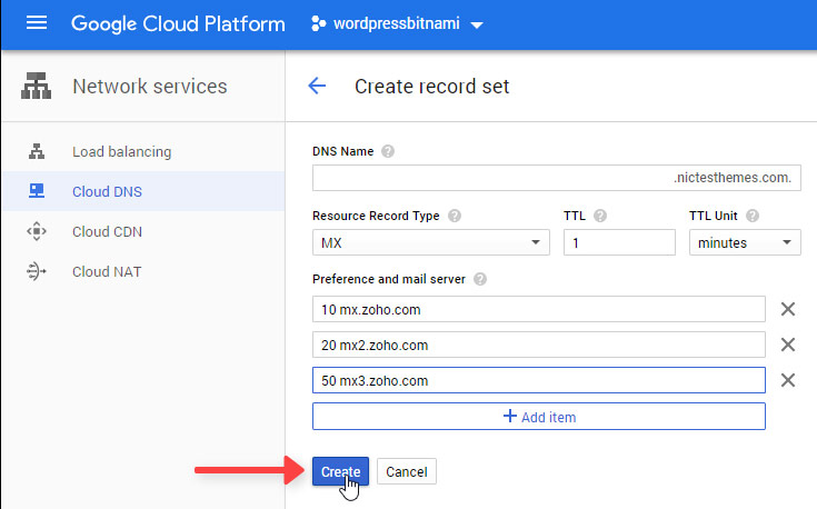 Registros MX Zoho Mail Google Cloud