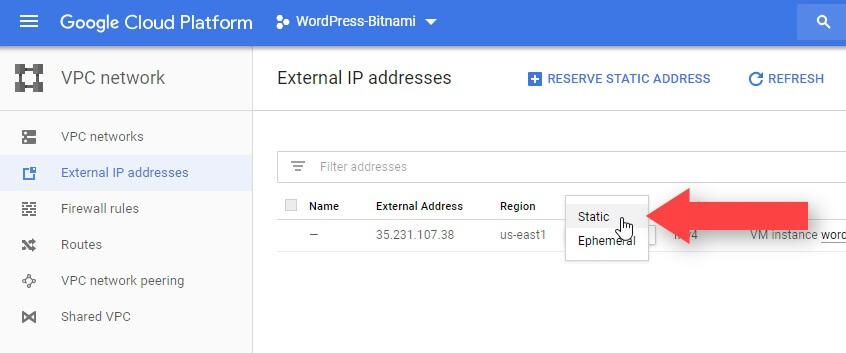Seleccionar IP Estática Google Cloud