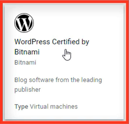 Selecionar WordPress Certified By Bitnami Google Cloud
