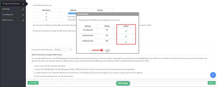 Validación Registros MX Zoho Mail Plan Gratuito