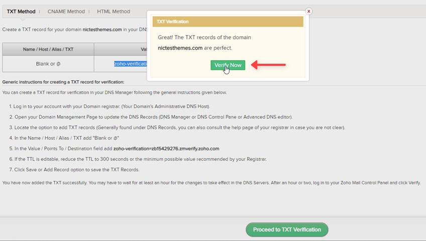 Verificar Dominio Ahora Registro TXT Zoho Mail