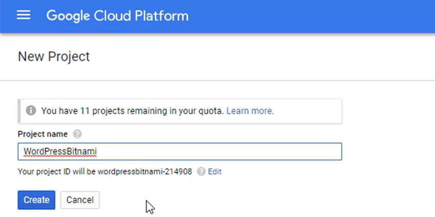 Nuevo Nombre Proyecto Google Cloud