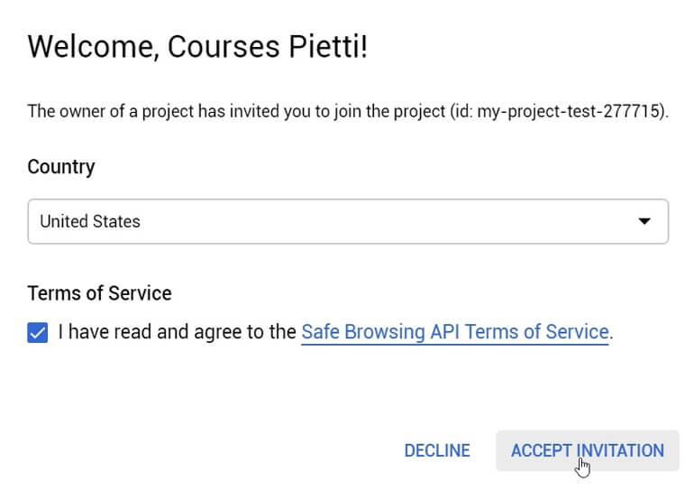 Aceptar Términos y Condiciones Invitación Proyecto Google Cloud