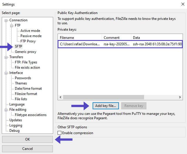 Agregar Private Key SFTP FileZilla