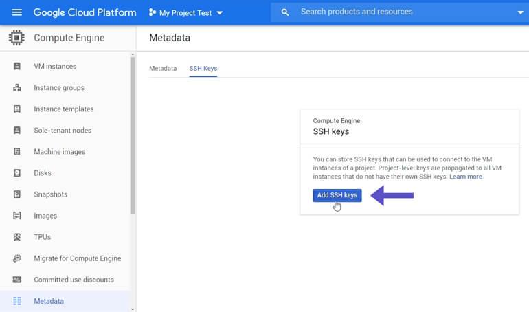 Agregar Public SSH Key Compute Engine Metadata Google Cloud