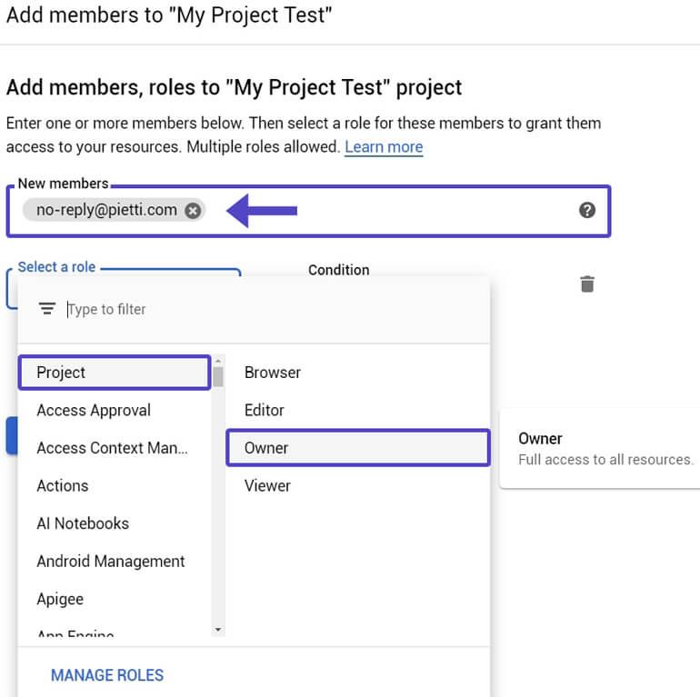 Añadir Usuario Proyecto Seleccionar Rol Google Cloud