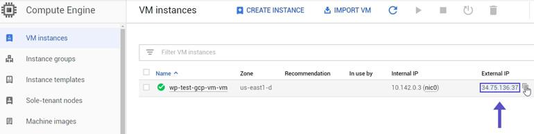 Copiar External IP VM Instances Google Cloud