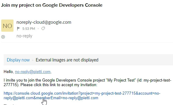 Correo Invitación Proyecto Google Cloud