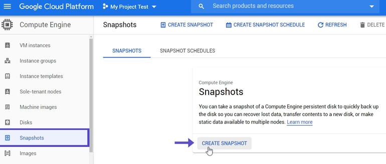 Crear Backup Snapshot Google Cloud