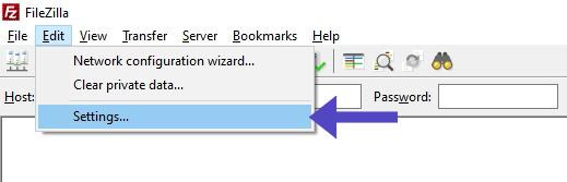 FileZilla Edit Settings