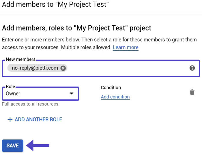 Guardar Nuevo Miembro Proyecto Google Cloud