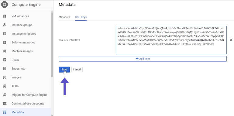 Guardar Public Key SSH Key Compute Engine Metadata Google Cloud
