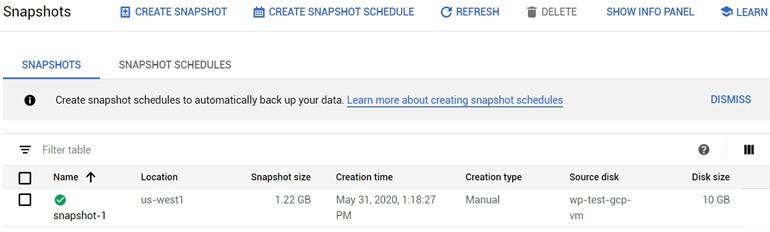 Primer Backup Snapshot Google Cloud
