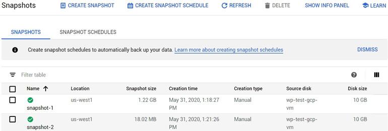 Segundo Backup Snapshot Google Cloud