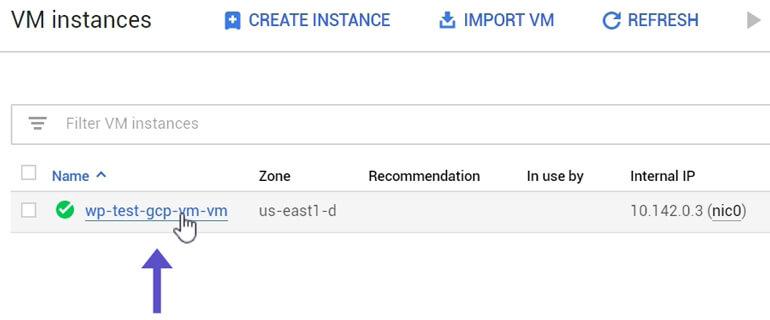 Seleccionar VM Instance Google Cloud