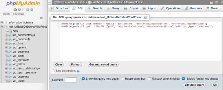 Corregir Errores Mediante MySQL via phpMyAdmin
